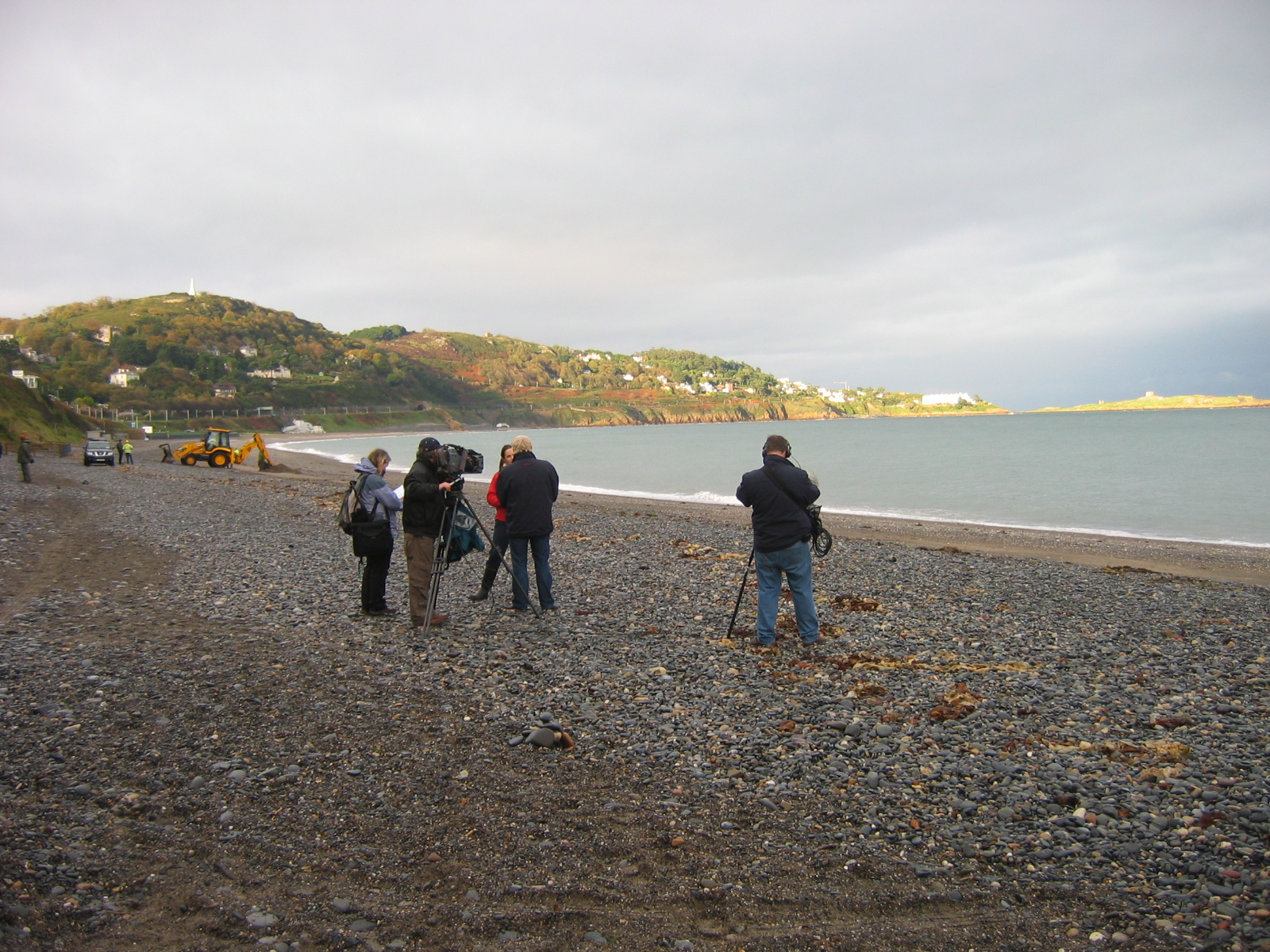 Filming by BBC on Killiney Beach