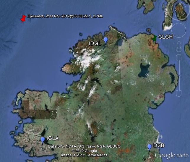 Location map of earthquake 21st Nov 2012