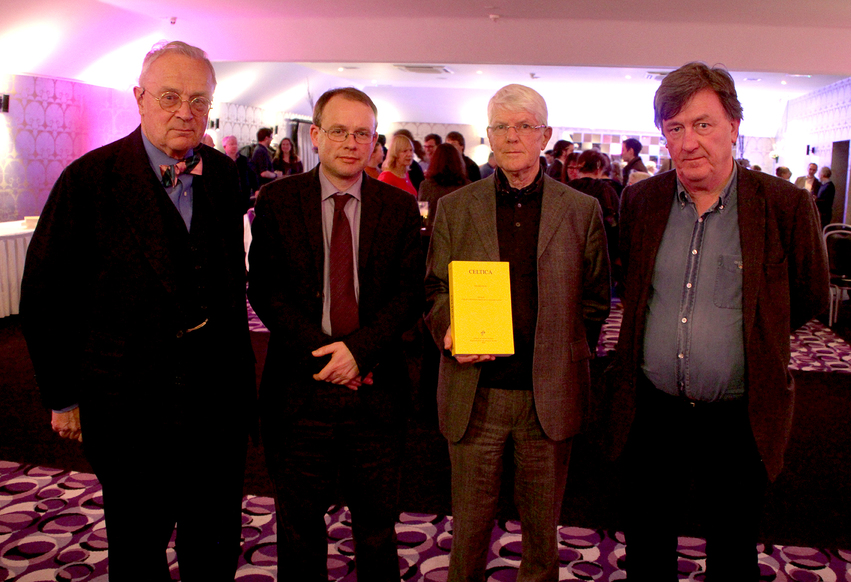 Pictured at the launch of Celtica 28 (l–r): Professor Anders Ahlqvist (chairman of the board of the School of Celtic Studies); Professor Barry Lewis (editor of Celtica 28); Professor Pádraig A. Breatnach (editor of Celtica 28); Professor Liam Breatnach (director of the School of Celtic Studies)