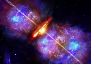 Artist's impression of an accretion burst in a high-mass young stellar object like S255 NIRS 3. Image Credit: Deutsches SOFIA Institut (DSI).