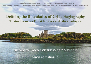 Defining the Boundaries of Celtic Hagiography conference poster