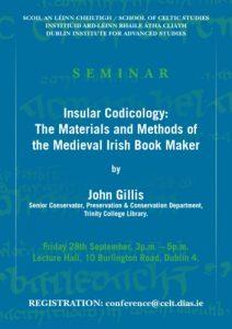 Insular Codicology seminar poster